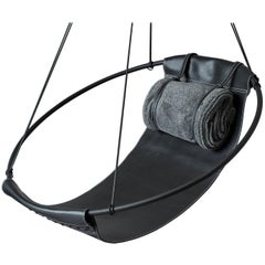 Sling Hanging Swing Chair Genuine Black Leather 21st Century Modern