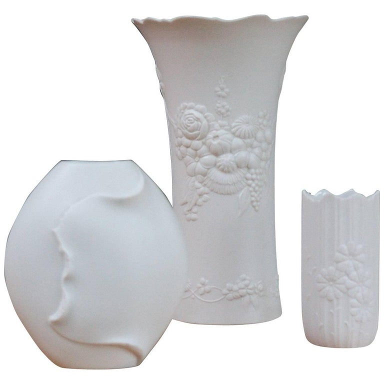 Collection of Three Kaiser Porcelain Relief Vases Signed M Frey, Germany