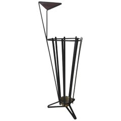 Metal and Teak Tripod Umbrella Stand in Style of Mathieu Matégot, 1950s