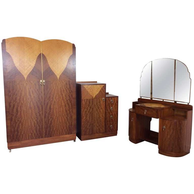 Art Deco Bedroom Set: Armoire, Bed And Mirror