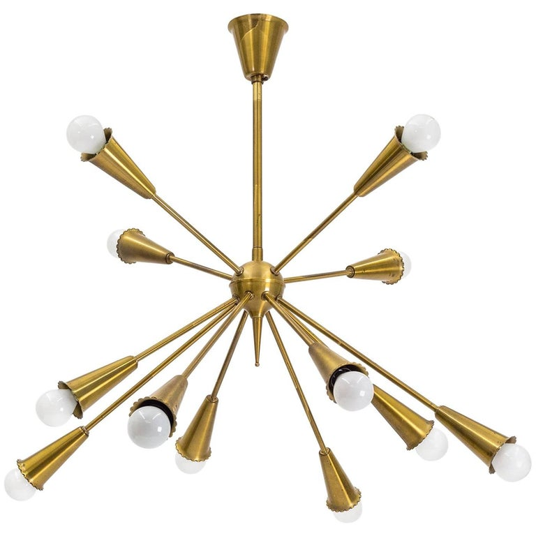 Twelve-Arm Brass Sputnik Chandelier, 1950s