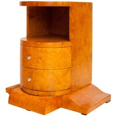 Art Deco Side Table Nightstand in Bird's-Eye Maple