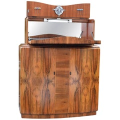 English Art Deco Walnut Cocktail Dry Bar