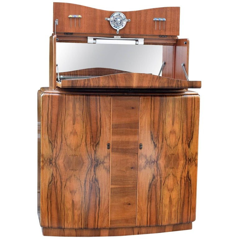 English Art Deco Walnut Cocktail Dry Bar For Sale
