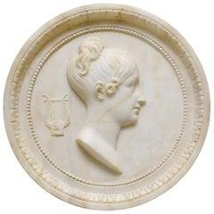 Carrara Marble Portrait Medallion of a Woman, Early 19th Century