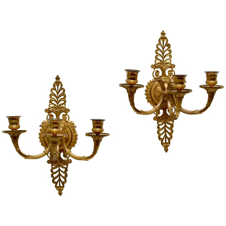 Pair of Empire Gilt Bronze Wall Appliques, Early 19th cent. For Sale