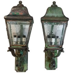 Pair of Architectural Wall Mounting Brass Lanterns