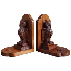 Early 20th Century, Hand Carved Solid Mahogany Owl Sculptures on Books Bookends