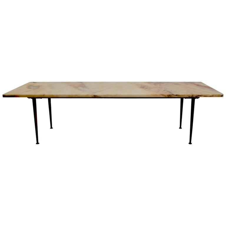 Marble-Top Coffee Table With Solid Cast Brass Legs At 1stdibs
