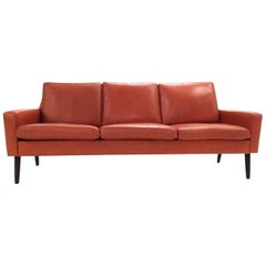 Danish Orange Tan Leather Teak Three-Seat Sofa, Midcentury, 1960s