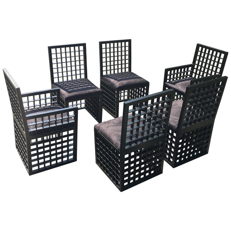 "Set of Six ""Grid"" Chairs by Cy Mann For Sale"