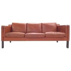 Danish Tan Brown Leather Teak Three-Seat Sofa, Midcentury, 1960s