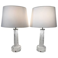 Swedish Orrefors 1955 Art Glass Table Lamps by Carl Fagerlund