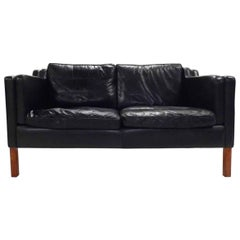 Danish Stouby Black Leather Teak Two-Seat Sofa Midcentury, 1960s
