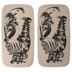 Pair of Rare Swedish Porcelain Cutting Boards by Stig Lindberg for Gustavsberg