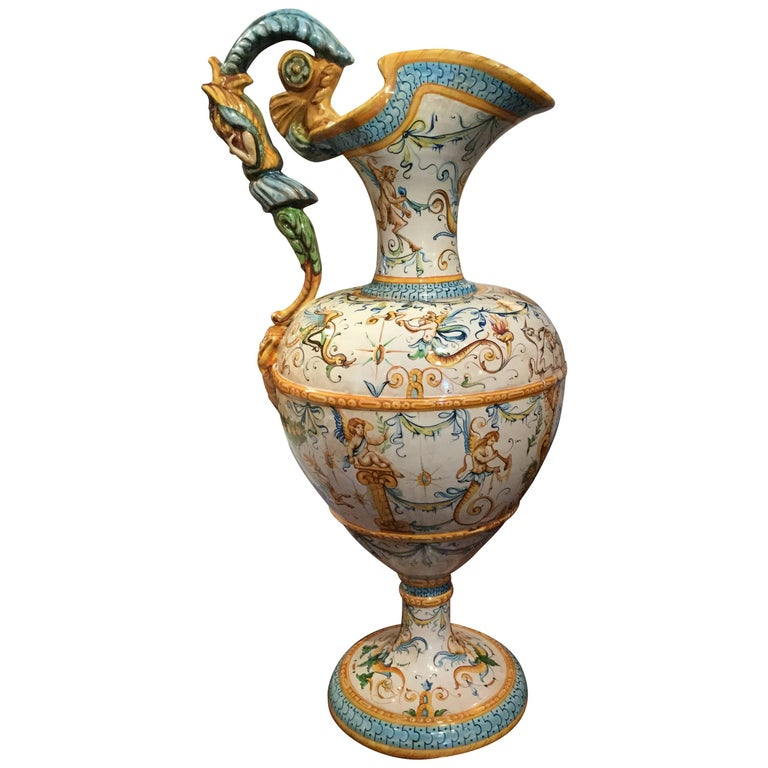 Hand Painted Ceramic Faience Pitcher Shaped Vase For Sale At 1stdibs