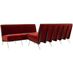Pair of Boomerang Sofas on Brass Legs