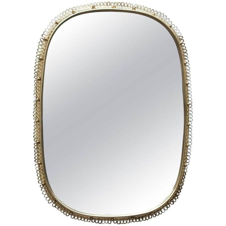 Huge Josef Frank Mirror in Brass by Svenskt Tenn in Sweden