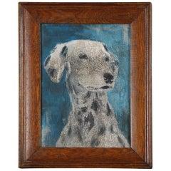 Naive 20th Century Dalmatian Puppy Portrait Oil on Board