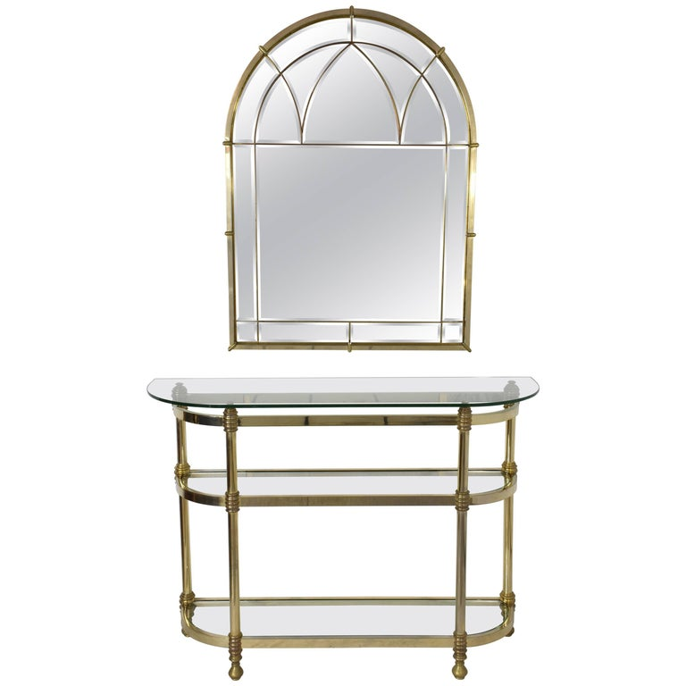French Vintage Brass Mirror and Console, 1970s