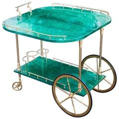 Aldo Tura Green Goatskin Bar Cart Fold-Up Sides