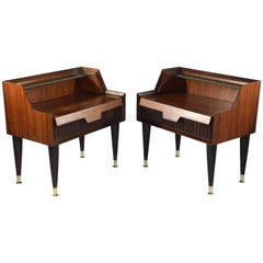 Pair of Italian Midcentury Nightstands In the Manner of Gio Ponti, 1950-1960