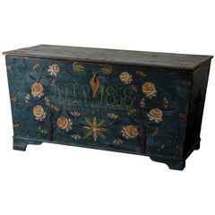 Chest Swedish 1858 Blue Flowers, Sweden