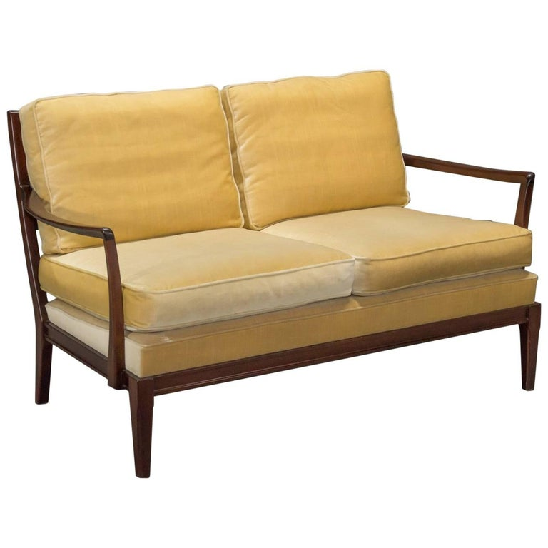 Danish Modern Loveseat Settee with Down Cushions For Sale