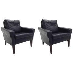Danish Black Leather & Teak Armchair Midcentury Chair 1960s