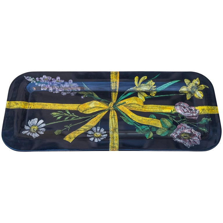 Early Piero Fornasetti Flower Serving Tray, 1950s