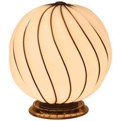Glamourous 1970s Spheric Murano Glass Table Lamp