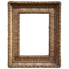 Vintage Hand-Woven Straw on Wood, Stylishly Organic Picture or Mirror Frame