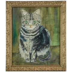 Early 20th Century Naive Cat Portrait