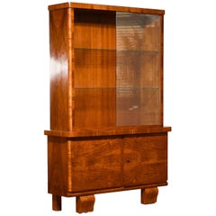 1930s, Art Deco Walnut Display Cabinet