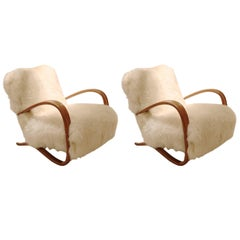 Pair of Midcentury Jindrich Halabala Armchairs in Bentwood and Sheepskin