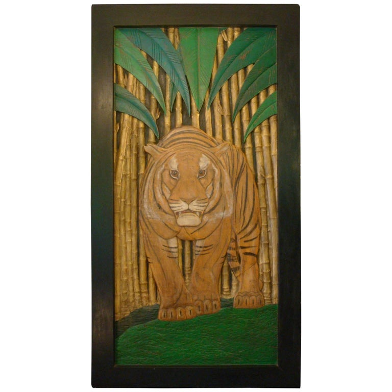 Art Deco Polychromed Carved Tiger in the Middle of the Jungle Wall Panel