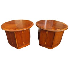 Lovely Pair of Lane Acclaim Drum End Side Table, Mid-Century Modern