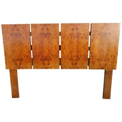 Gorgeous Milo Baughman for Lane Olive Wood Queen Size Headboard Midcentury