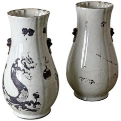 Vases Tall Pair of Japanese 19th Century Black and White Japan