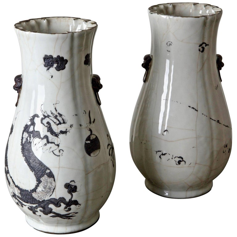 Vases Tall Pair Of Japanese 19th Century Black And White Japan For