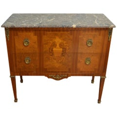 Louis XVI Style Commode with Fine Marquetry In-Lay, Two Drawers, Marble-Top