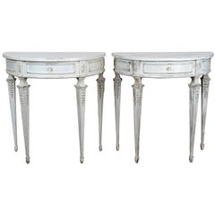 Pair of Swedish Demi Lune Consoles Louis XVI Style Gustavian Patina