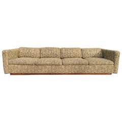 Wonderful Signed Milo Baughman Four-Seat Tuxedo Sofa Plinth Base Midcentury