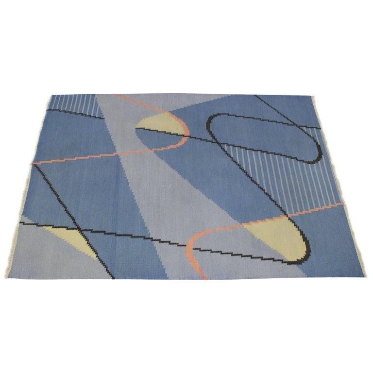Geometric Modernist Kilim Carpet by Antonín Kybal For Sale