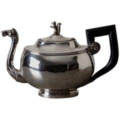 Coffee Pot Silver European 19th Century Empire Blackened Handle, Austria