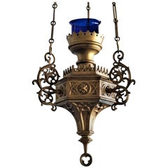 18th Century Gothic Revival Bronze Sanctuary Lamp, Church Pendant, Candleholder