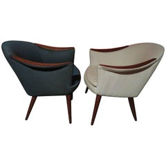Wonderful Pair Danish Scoop Lounge Chairs in the Style of Nanna Ditzel