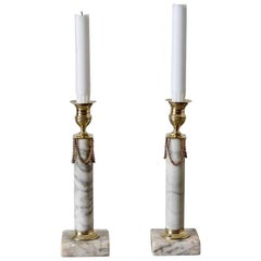 Candlesticks Swedish Gustavian Neoclassical Gray Marble Brass, Sweden