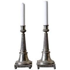 Candlesticks Gustavian Neoclassical Swedish Pair Pewter Gray 19th Century Sweden