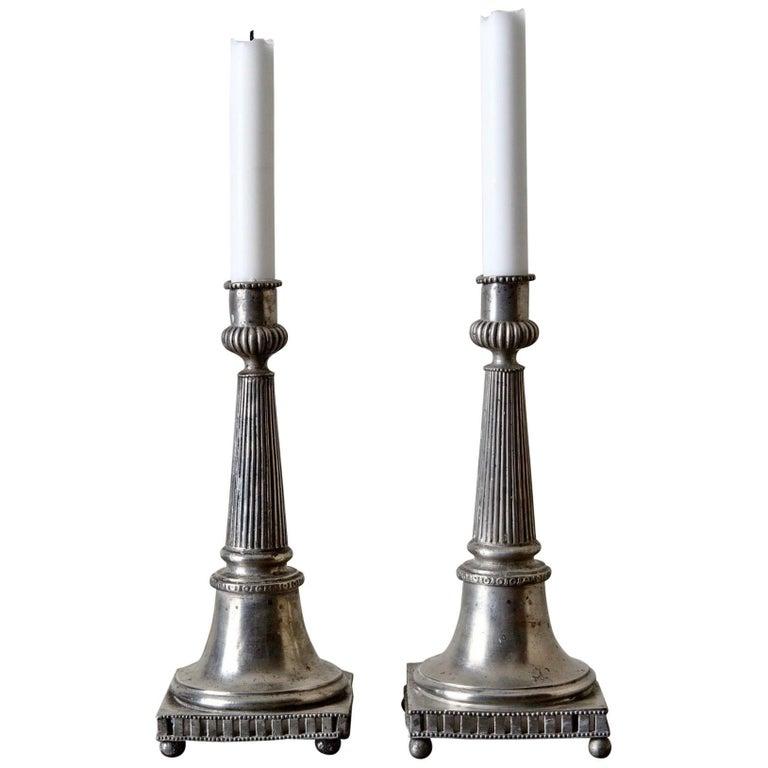 Candlesticks Gustavian Neoclassical Swedish Pair Pewter Gray 19th Century Sweden